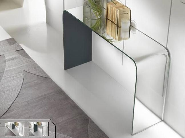 Aqua la consolle in vetro curvato argentato di riflessi for Consolle moderne di design