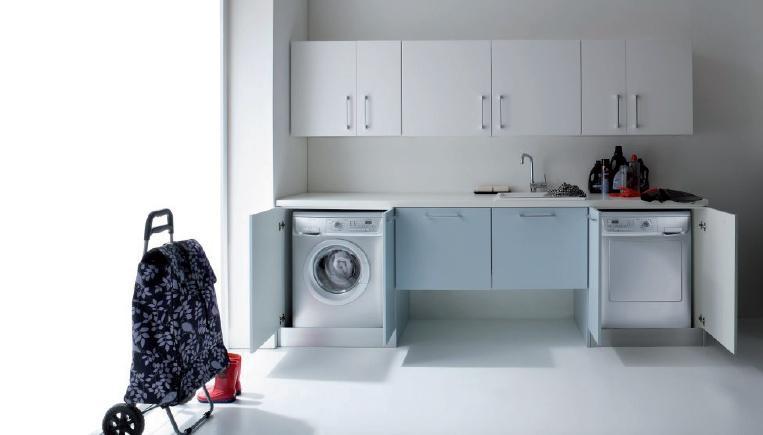 Composizione salvaspazio bagno o lavanderia con porta - Lavatrice cucina ...
