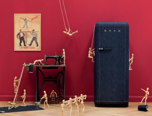 frigorifero jeans, smeg jeans, frigorifero bombato, frigorifero anni 50, frigorifero lapo elkan, frigorifero italian indipendent