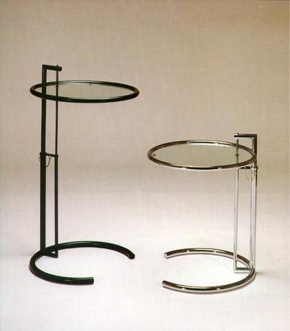 Eileen Gray Tavolino Prezzo.Tavolino In Metallo Cromato E Piano In Cristallo Regolabile In