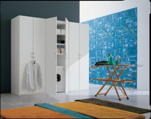 ripostiglio,lavanderia,scaffali,salvaspazio,mobili salvaspazio,portalavatrice,lavandino