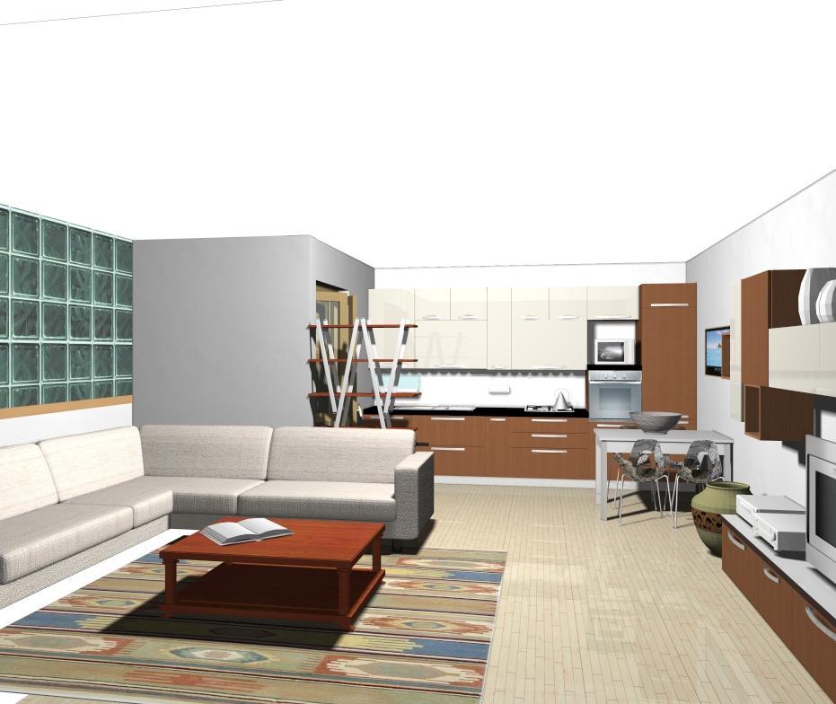 Cucina piccola pareti storte inclinate cucina nella for Cucina soggiorno piccola